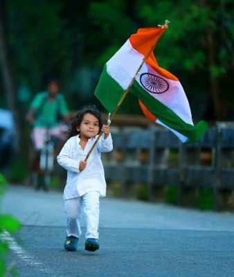 children with indian flag